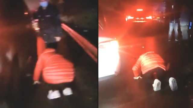 救护车被堵,伤者女儿跪求司机让道