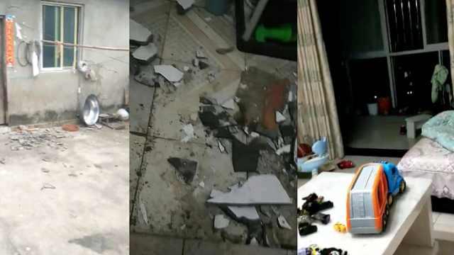 自贡4.7级地震:墙体开裂,外砖脱落