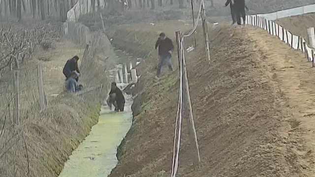 两岁幼童坠水沟,男子飞奔跳下水救