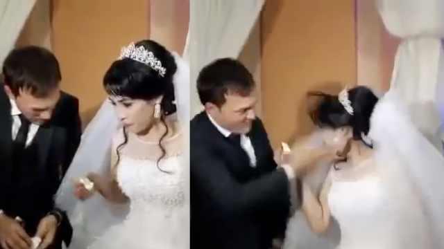 婚礼上被逗,新郎一巴掌将新娘掀翻