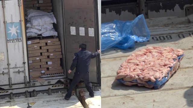 江苏查获走私冻肉300吨,外文标识