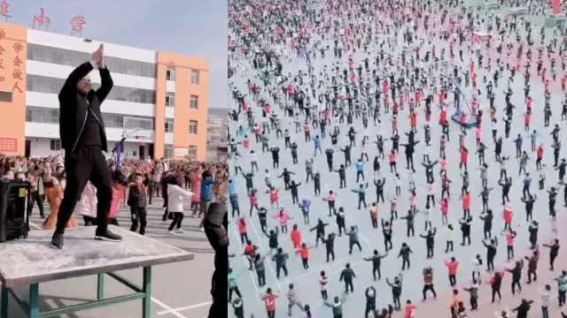 2千学生课间跳网红舞,老师C位领舞