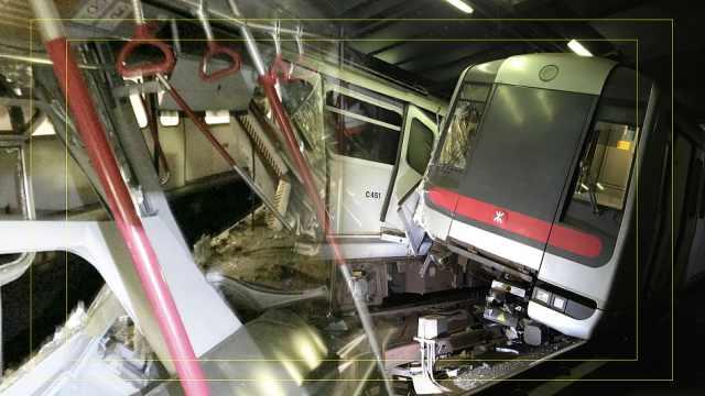 香港中环测试地铁拦腰撞,严重变形