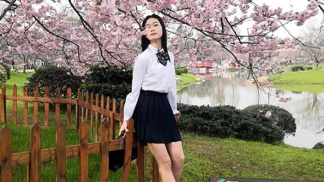 人比花美!女大学生樱花树下拍写真