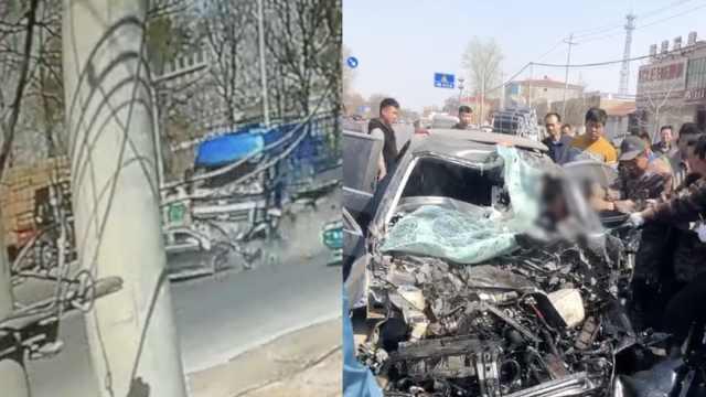 轿车迎面撞半挂车,路人掰车门救援