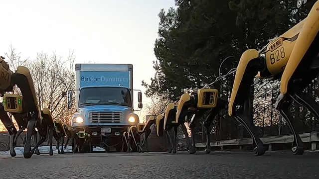 波士顿动力机器人合力拖动卡车