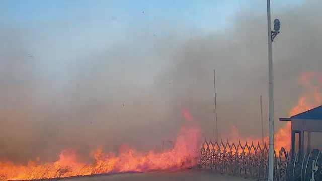 监拍内蒙古入境火,大火借8级风蔓延
