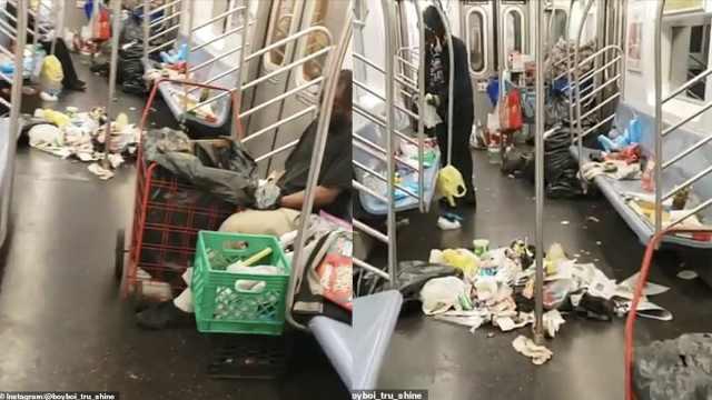 纽约地铁车厢垃圾堆成山,乘客怒了