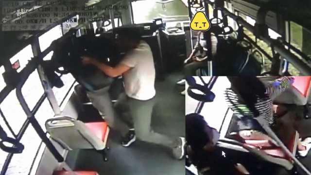 他公交上摸女孩,欲跳窗被一把抱住