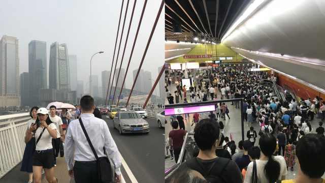 重庆6号线故障,市民步行垮桥上班