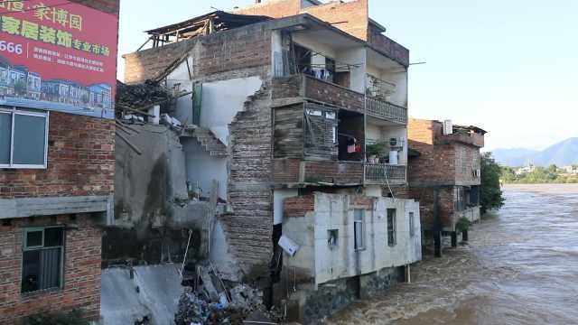 湖南江华老城区2层楼倒塌,无伤亡