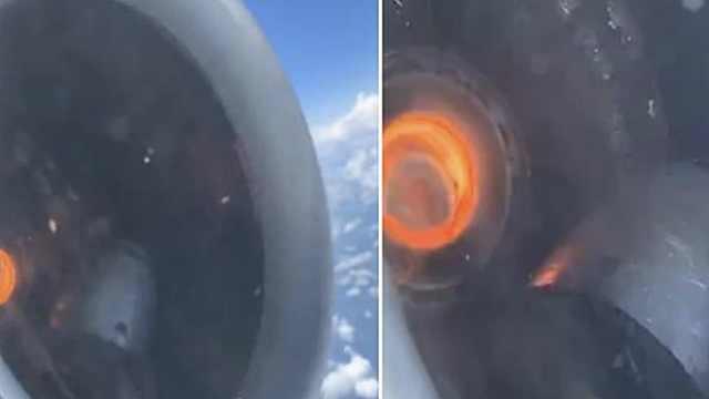 美国航班飞行途中引擎烧红零件松动