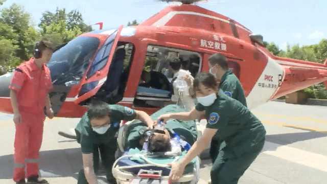 他左肢被碾恐截肢,医院直升机转运
