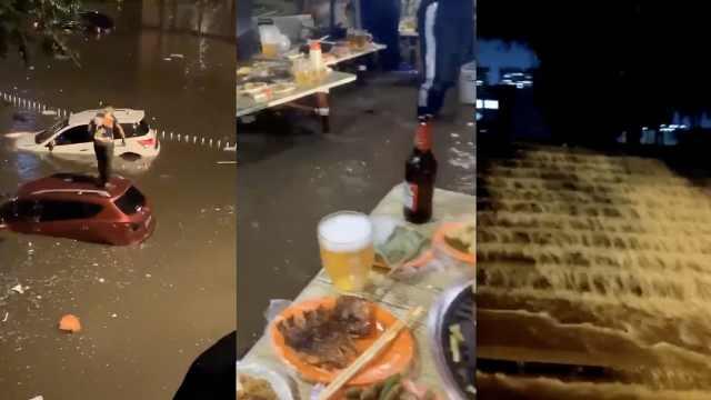 哈尔滨暴雨成海,市民泡水里吃烧烤