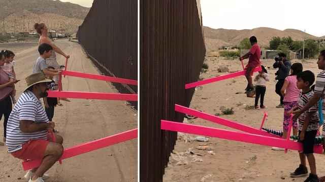 墙在,但可以在美墨边境架起跷跷板