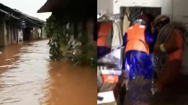 乐山连夜暴雨淹没房屋,千人急转移