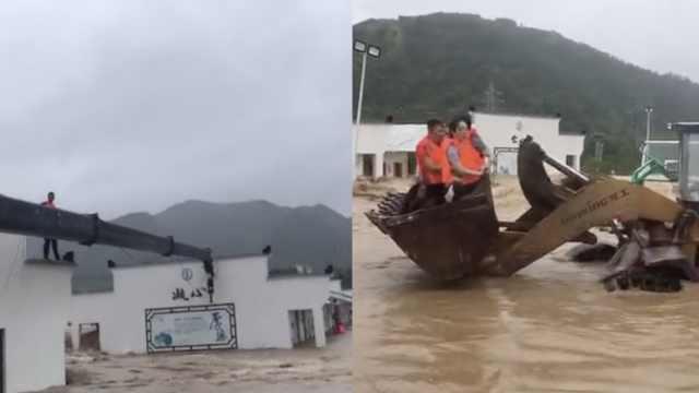 台风来袭洪水暴涨,村民屋顶等救援