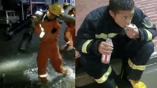 排涝数小时后,消防员连吃11个包子
