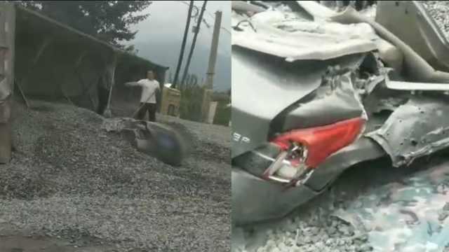 货车侧翻石子倾泻,1家3口被埋身亡