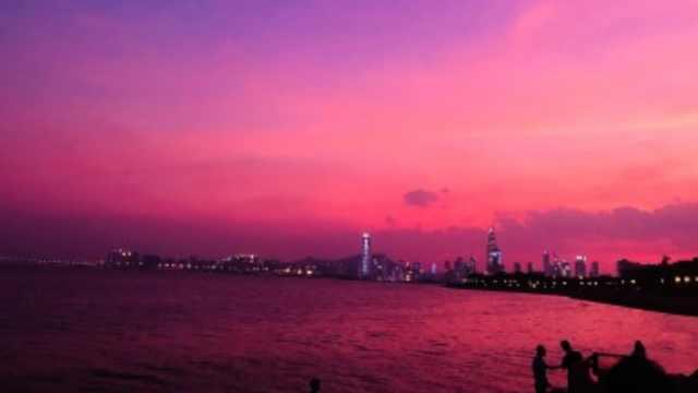 台风来袭前,深圳惊现绝美紫色晚霞