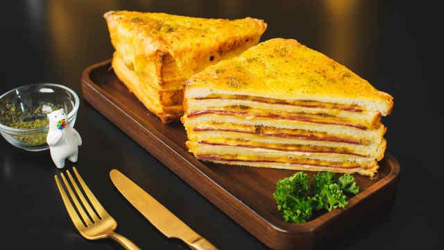 料足松软黄金山明治,早餐换换口味
