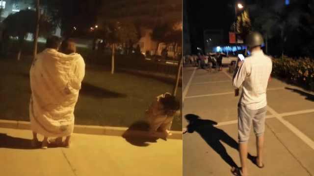 兰州3.3级地震,学生戴头盔裹被单逃