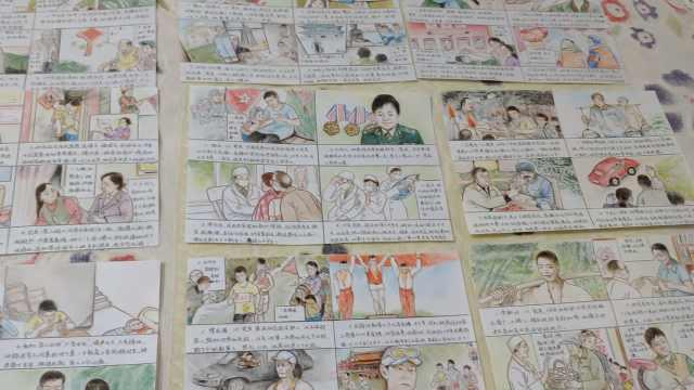 记录新中国同龄人,老人绘人物漫画