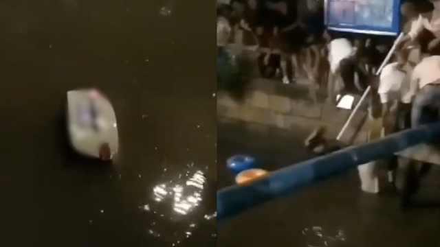 玛莎拉蒂坠河,市民持棍救出被困者