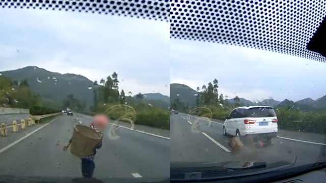 7旬老人横穿高速被撞飞,当场身亡