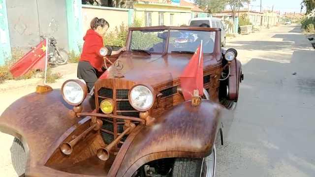 能开能跑!老农8年打造纯木制老爷车
