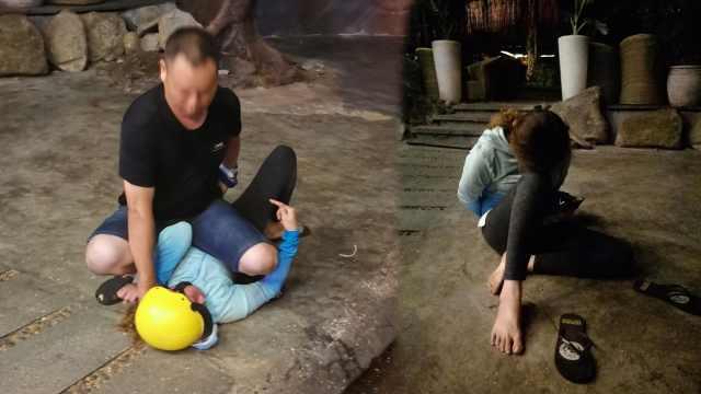 越南旅游遇飞车抢夺,男子一脚踹倒