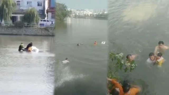 女子驾车冲入湖中,7人跳水救出4人