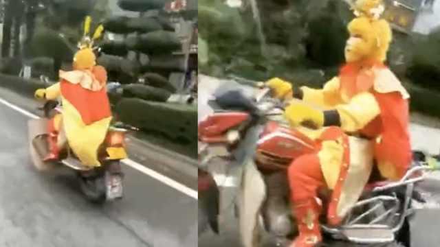 悟空街头飙摩托,被通知警队