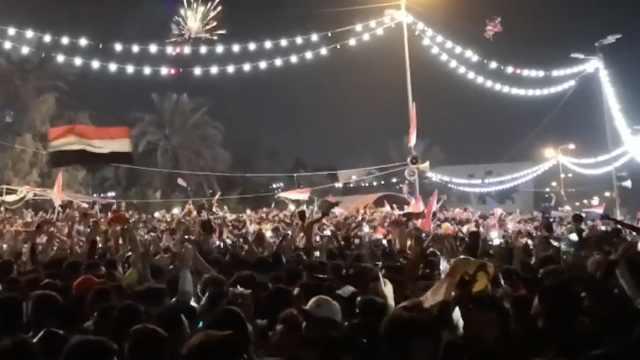 伊拉克球迷欢庆世界杯预选赛获胜