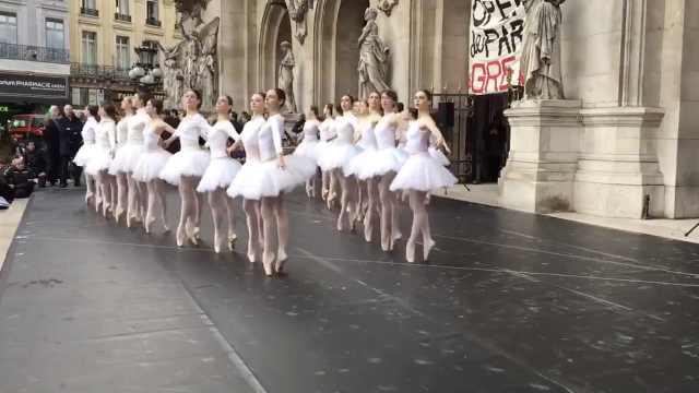另类抗议!法国芭蕾舞者起舞示威