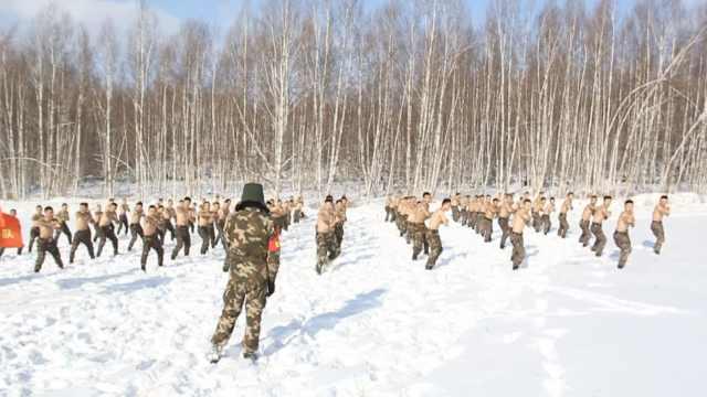 魔鬼训练周,武警-20℃赤膊雪地摔打