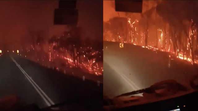 地狱既视感!澳消防车在野火中穿行