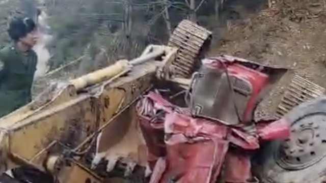 悲剧!挖车司机封路返回时坠崖身亡