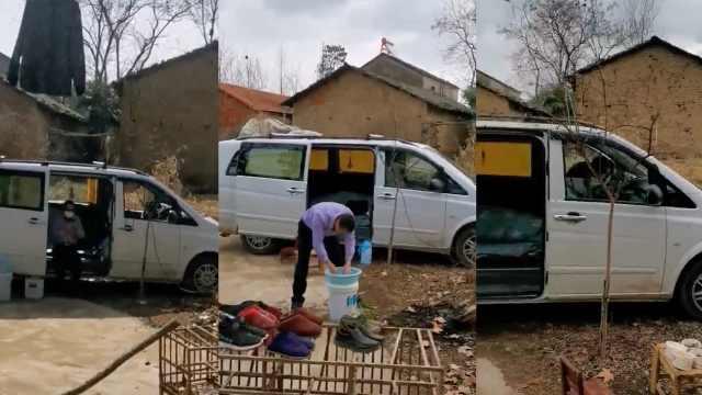 雷神山工人回家居车隔离:车上吃住