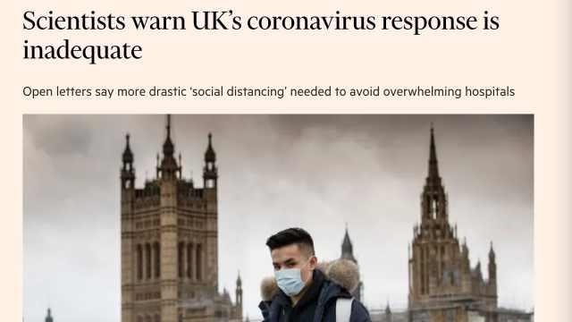 """英国超600名科研人员公开信质疑""""群体免疫"""",呼吁社交隔离"""