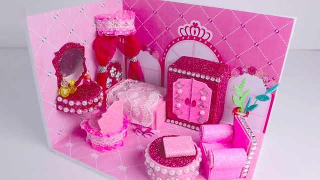 DIY迷你娃娃屋,芭比娃娃的喜庆婚房
