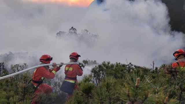 惊险!西昌山火距液化气站不足80米!消防战士14小时成功阻击