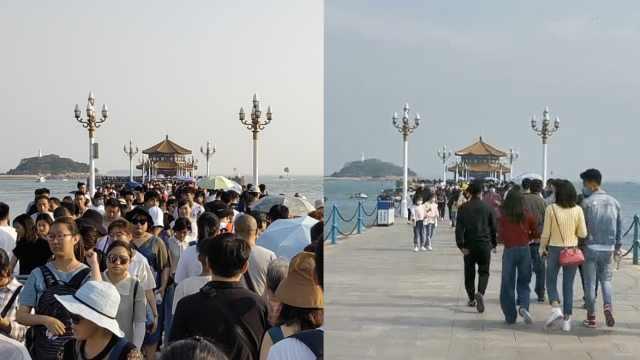 实拍青岛栈桥:目测游客数量比去年十一假期减一半