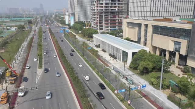 南京江北新区浦滨路航拍