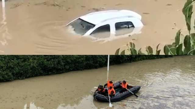 街道成河!合肥道路积水淹没车顶,武警乘皮划艇救人
