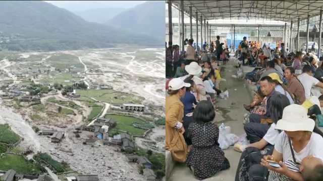 航拍山洪下的凉山冕宁县,有房屋陷淤泥里,村