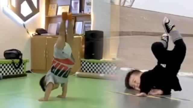 2岁萌娃穿纸尿裤跳街舞,各种高难度动作惊呆全场