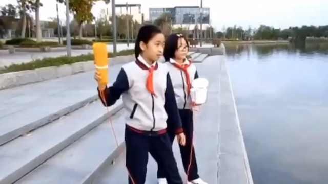 女孩自制救生圈,3秒可完成自动充气