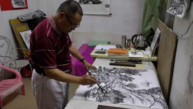 59岁保安坚持画画数十年:喜欢它,再穷再苦都不