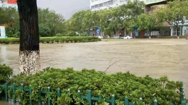 直击台风黑格比登陆乐清,温州暴雨多地被淹,